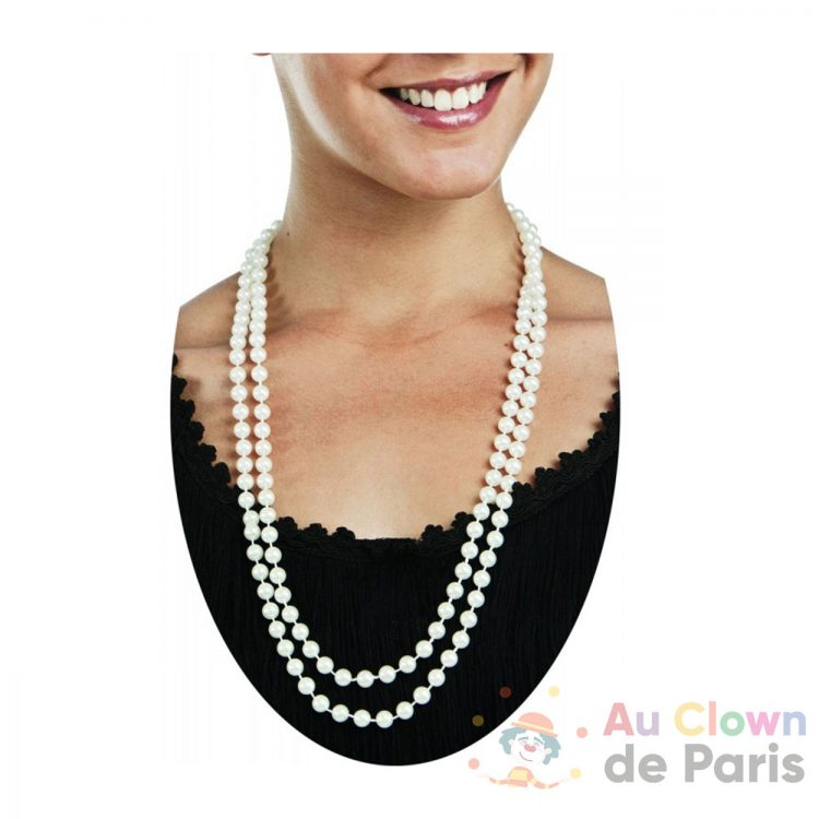 Collier fausse perle blanche