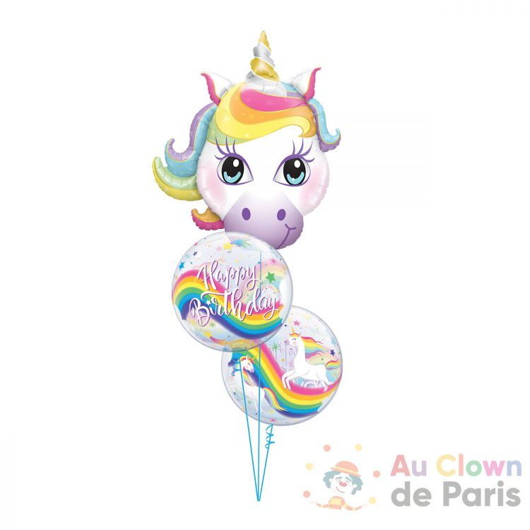 Ballon hélium licorne anniversaire