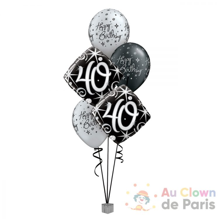 Ballons anniversaire 40 ans Noir et Gris