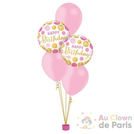Ballons anniversaire confetti rose