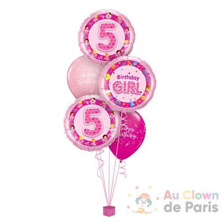 Ballons Rose anniversaire fille 5ans