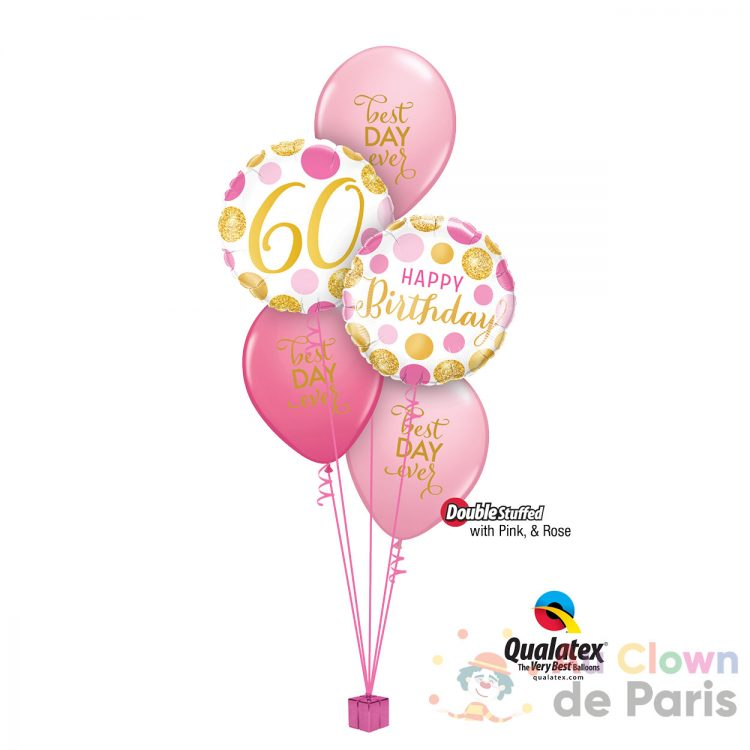 Ballons anniversaire 60ans Rose