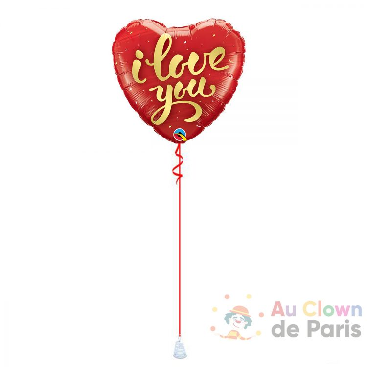 Ballon coeur rouge I Love You