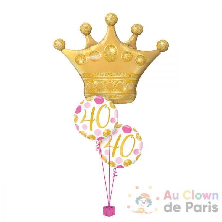 Ballons Couronne anniversaire 40 ans Rose et Or