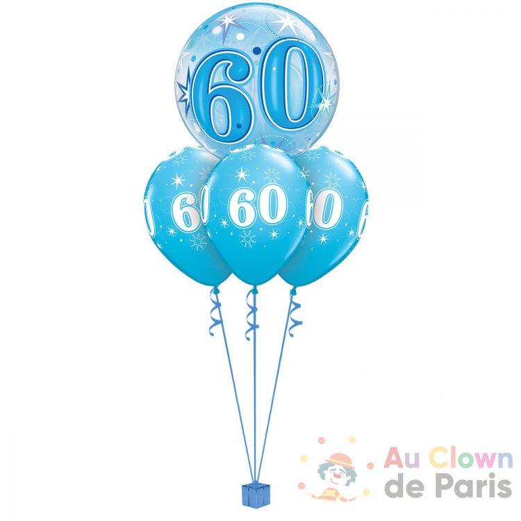 Ballon hélium anniversaire 60ans bleu