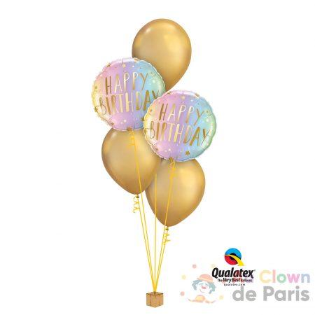 Bouquet de ballons Or anniversaire