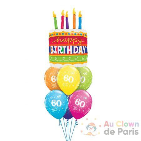 Bouquet de ballons Gâteau d'anniversaire 60ans