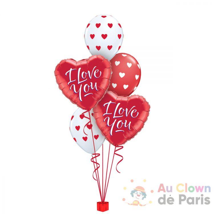 Bouquet de ballons coeur I Love You