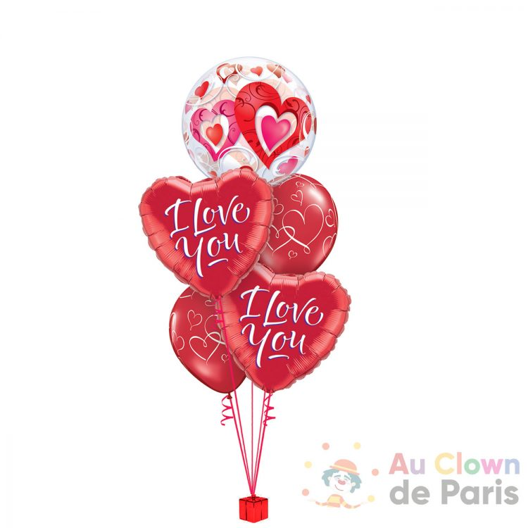 Bouquet de ballons I love You Rouge