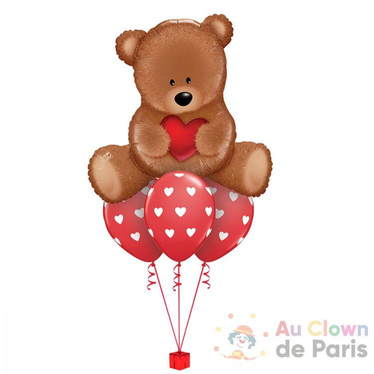 Bouquet de ballons Ours amour