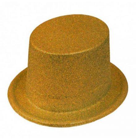 chapeau haute forme doré
