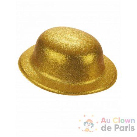 chapeau melon paillettes doré