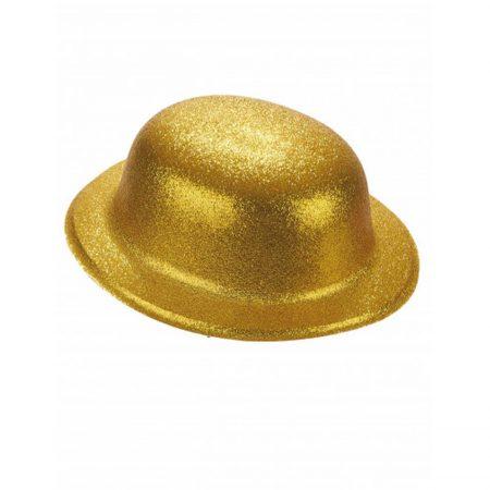 chapeau melon paillette doré