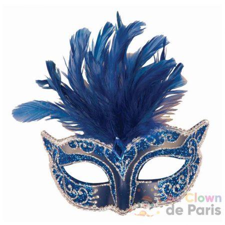 loup vénitien bleu avec plumes