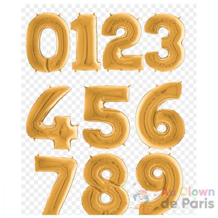 ballon chiffre 0-9 dore