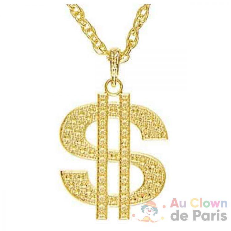 accessoire collier dollar géant en métal