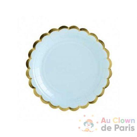 assiettes bleu pastel et or