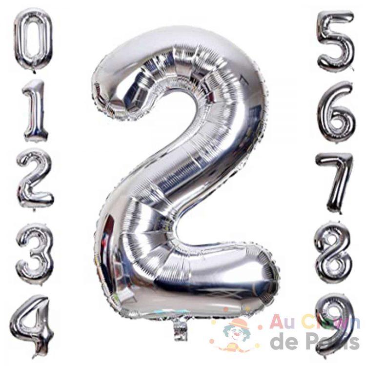 ballon chiffre 0-9 argent hélium
