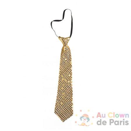 cravate dorée avec sequins