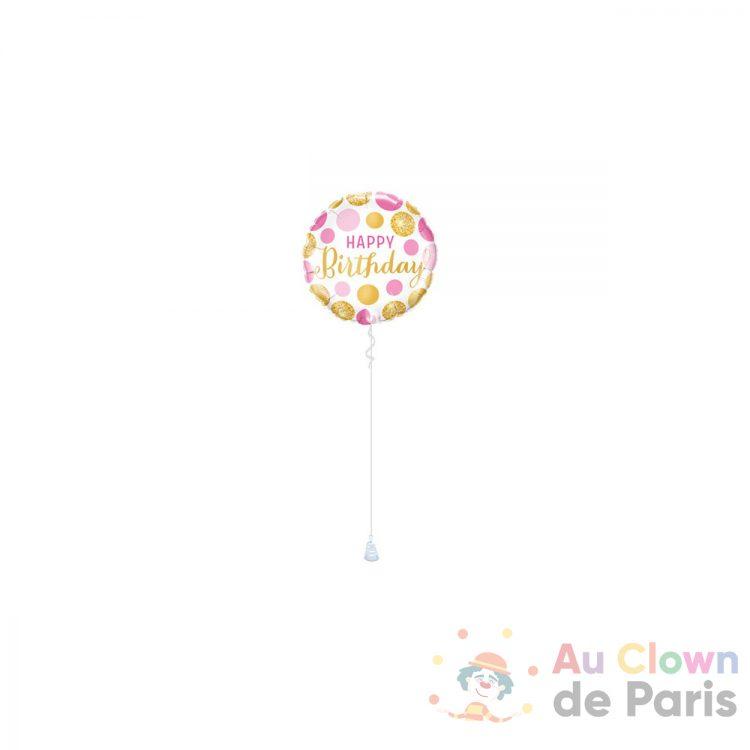 ballon happy birthday pink gold dots