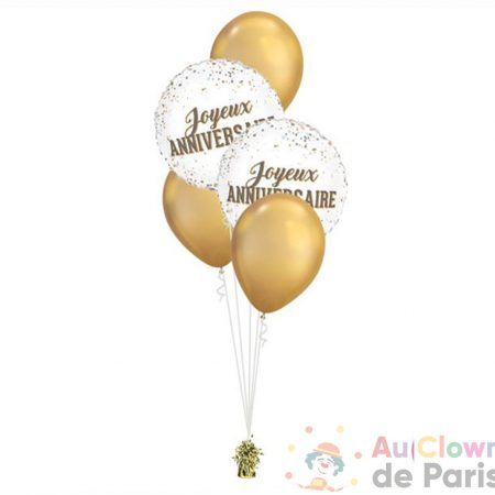 bouquet ballon joyeux anniversaire dots gold chrome