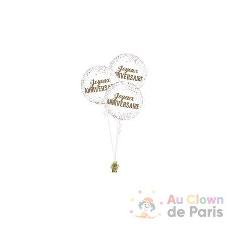 bouquet ballons trio dots joyeux anniversaire