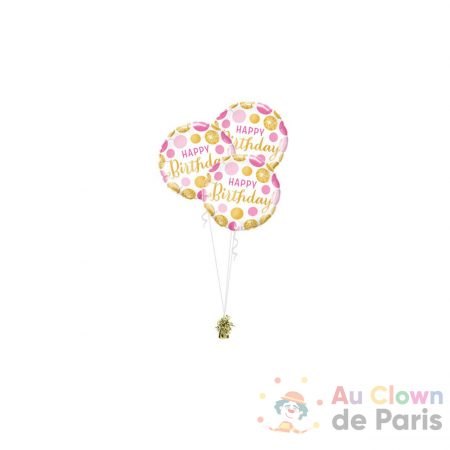 bouquet ballon trio rose et or