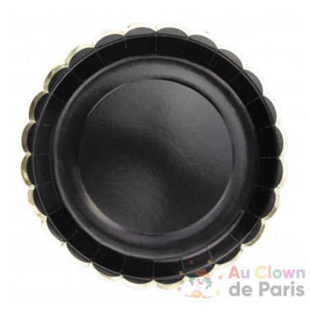 assiettes festonnes noires et or