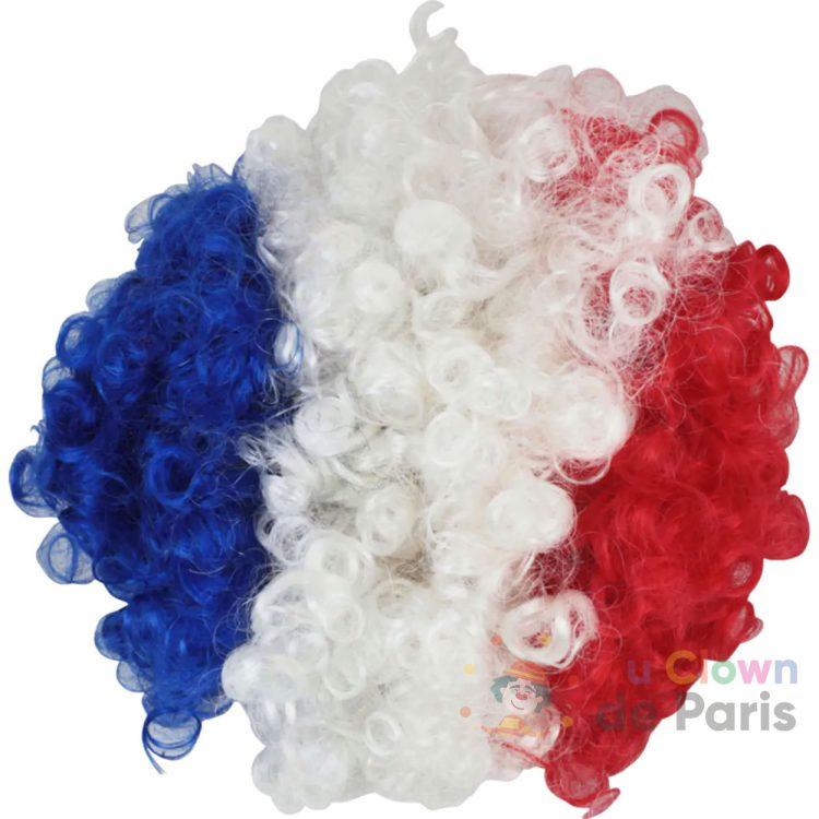 Perruque bleu blanc rouge Paris foot